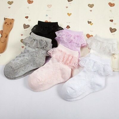 1 Pair Tick Tock Baby Cotton Rich Frilly Lace Top Solid Color Socks Sz S/M/L UK