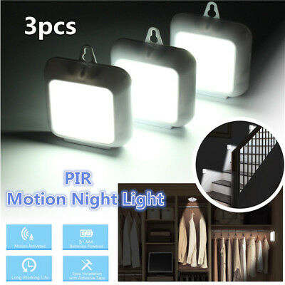 3x Wireless 6-LED PIR Auto Motion Sensor Infrared Night Light Cabinet Stair Lamp