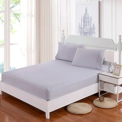 100% Cotton Soft Single KS Double Queen King Fitted Bottom Sheet Pillowcases