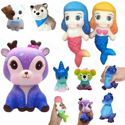 Kawaii Galaxy Deer Cream Scented Squishy Slow Rising Squeeze Strap Kids Toy Gift