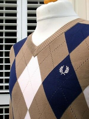 Fred Perry Brown Argyle Knitted V-Neck Jumper - L/XL - Ska Mod Scooter Casuals