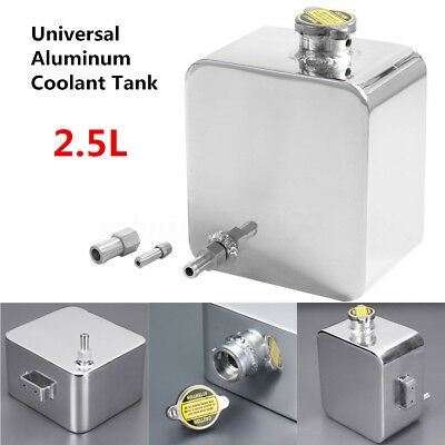Universal Polished 2.5L Aluminum Coolant Radiator Overflow Recovery Tank Sliver