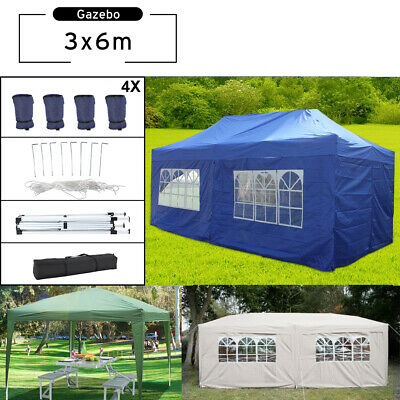Heavy Duty 6x3mtr FULLY WATERPROOF Pop Up Gazebo with Sides/ Bag Wedding Party