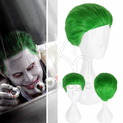 Suicide Squad Batman Joker Halloween Wig Men Short Green Hair Heat Resistant