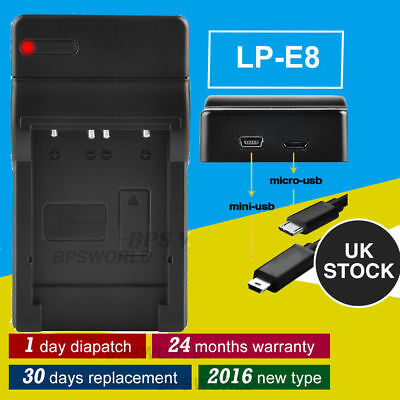 LP-E8 Battery USB Charger for Canon EOS 600D 700D 550D + 2 MINI & MICRO Cable UK