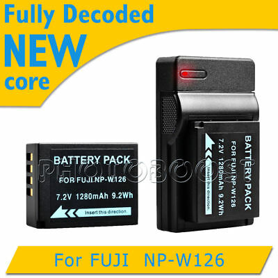 1280mAh Battery + USB Charger For Fuji FinePix NP-W126 HS30 EXR HS33 X-Pro1 UK