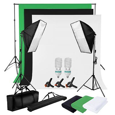 1250W Photo Softbox Continuous Lighting Kit Black White Green Background Stand