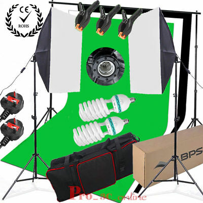 Studio Softbox Continuous Lighting Kit Stand Free Black Green White Backdrop Set