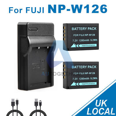 2x NP-W126 Battery + USB Charger for Fuji FinePix HS30 EXR HS33 X-Pro1 UK Fast