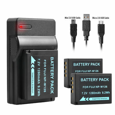 2x 1280mAh Battery + USB Charger NP-W126 NPW126 for Fuji FinePix HS30EXR UK
