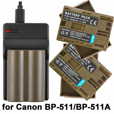 2×BP-511 BP-511A Battery+USB Charger For Canon EOS 5D 20D 30D 300D G2 G3 UK