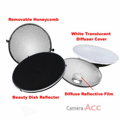 Photo Studio Flash Beauty Dish 42cm Bowens S type Honeycomb + White Diffuser UK