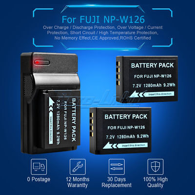 2x1280mAh NP-W126 Battery+USB Charger for Fuji FinePix HS30 EXR HS33 X-Pro1 UK