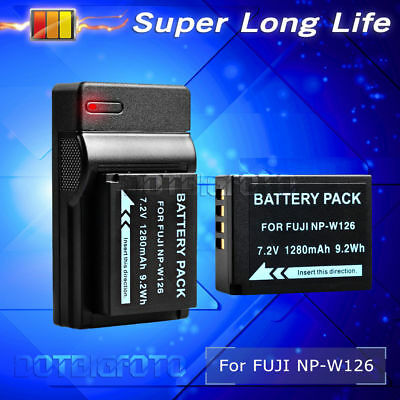1280mAh Battery+USB Charger for Fuji FinePix NP-W126 HS30 EXR HS33 EXR X-Pro1