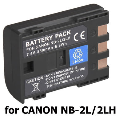 850mAh Battery for NB-2L NB-2LH Canon EOS 350D 400D G7 G9 ZR100 ZR200 S70 S80 UK