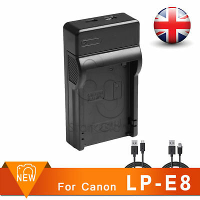 USB Battery Charger for LP-E8 Canon EOS 550D 600D 650D Digital Rebel T3i T4i UK