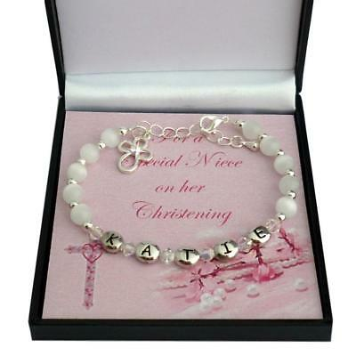 Personalised Bracelet for Christening, Any Girls Name. Gift Boxed. High Quality!