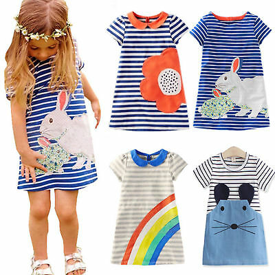 Baby Kids Girls Summer Tunic Striped Dress Casual Party Sundress Clothes Age 2-7