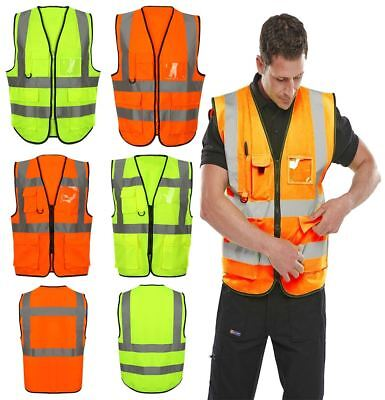 Mens High Visibility Executive Waistcoat Hi Viz Vis Reflective Safety Work Top