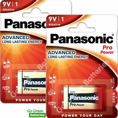 2 x Panasonic 9V PP3 Pro Power Alkaline Batteries, Smoke Alarms, LR22, MX1604