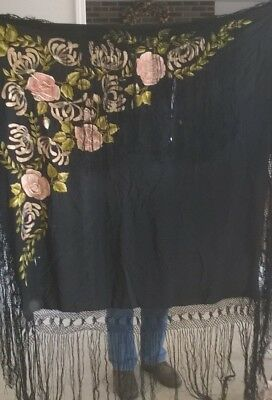 Antique Embroidered Fringed Black Piano Shawl Flowers As Is $33.33