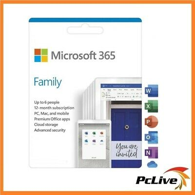 NEW Microsoft Office 365 Home 6 PC/Mac 1 Year Word Excel PowerPoint Outlook iPad
