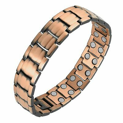 Mens 19 Magnets 3500 Gauss Copper Bracelet Arthritis Magnetic Therapy Stress