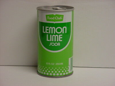 Vintage Food Club Lemon Lime Soda Straight Steel Pull Tab Bottom Opened Pop Can