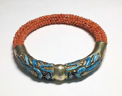 Antique Chinese Enameled Gilt Silver Dragon Chasing Pearl Woven Red Coral Bangle
