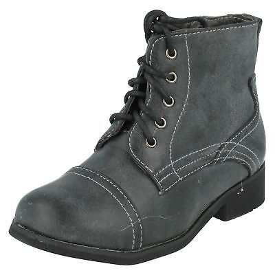 Spot On Girls Round Toe Zip Lace Up Black Casual Winter Ankle Boots Shoes H4R063