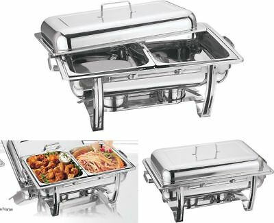 TWO x  STAINLESS STEEL CHAFING DISH LARGE TWIN PAN CHAFFING WARMER WARM CATER