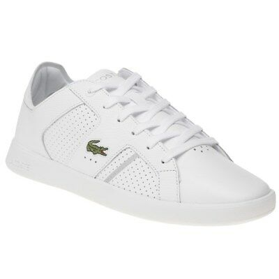 New Mens Lacoste White Nova Ct Leather Trainers Court Lace Up