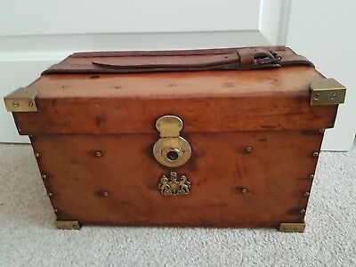 Antique Military Edwardian Leather Cartridge Case box , Brass Mounts Royal Westm