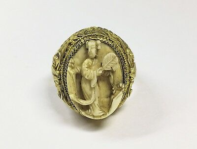 Antique Chinese Gold Gilt Silver Filigree Carved Bovine Bone Butterfly Ring