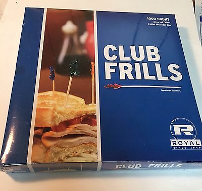 """Club Frill Picks 4.5"""" Assorted Colors 1000 Count - Royal"""