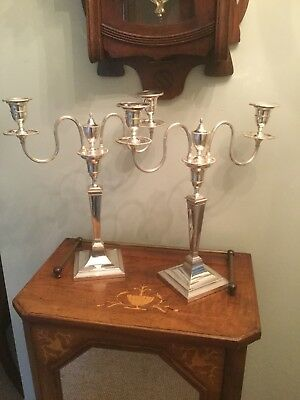 Antique Pair Of Silver Plated Armorial Candelabra SN-01