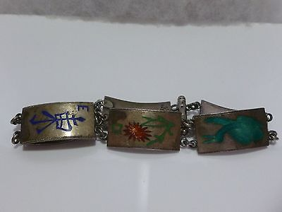 Asian Oriental Vintage Antique Sterling Silver Enamel Panel Bracelet