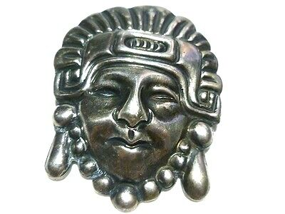 Antique Old Mexico Mexican Aztec Mayan Tribal Sterling Silver Face Brooch Pin