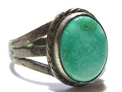 Old Sterling Silver Womens Estate Turquoise Womens Ring Band Size 5.25