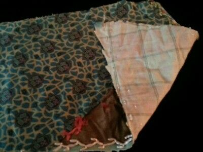Antique Fabric Material Remnant Fragment Silk Quilt Sewing Dolls Blythe Trim Art