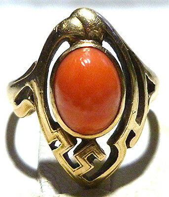 Antique Victorian Nouveau 14K Yellow Gold & Coral Womens Estate Ring Size 3.75