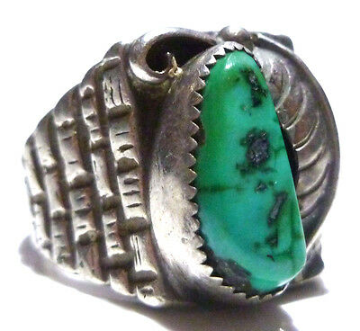 Vintage Old Southwestern Turquoise Sterling Silver Square Modern Ring Size 9.75