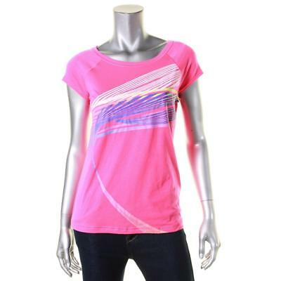 Ideology 2222 Womens Pink Graphic Cap Sleeves Pullover Shirts & Tops S BHFO