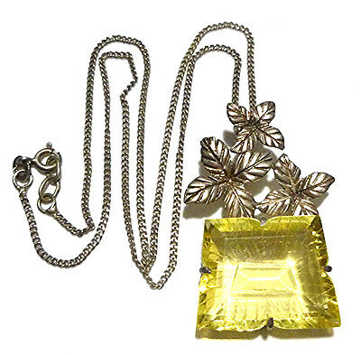 """Old Possible Chinese Carved Yellow Crystal Sterling Silver Flower Necklace 16"""""""