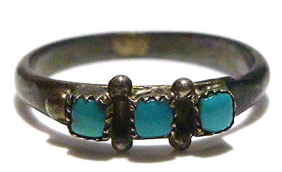 Old Native American Navajo Womens Sterling Silver & Turquoise Ring Band Sz 5.75