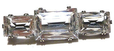 """Stunning Victorian Nouveau Sterling Silver Three Stone Crystal Brooch Pin 2"""""""