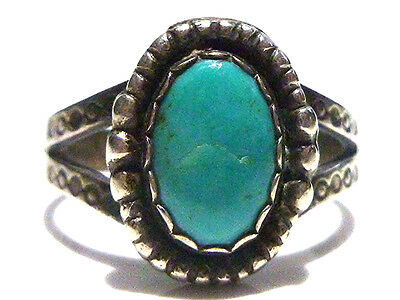 Old Southwestern Sterling Silver & Turquoise Womens Estate Ring Size 7.5