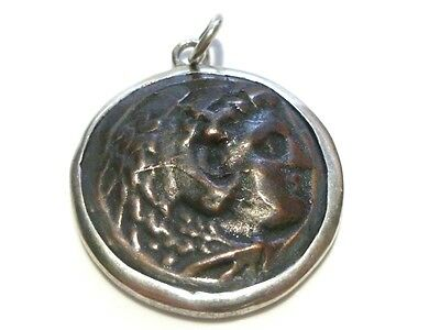 A. Leondarakis Greece Greek Sterling Silver & Brass Replica Coin Pendant Charm