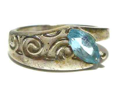 Foreign Hallmarked Sterling Silver Synthetic Blue Topaz Designer Rign Band Sz6.5