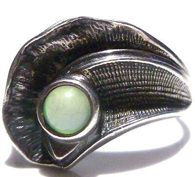 Foreign Hallmarked Modern Unique Sterling Silver Green Blue Cab Stone Ring Band